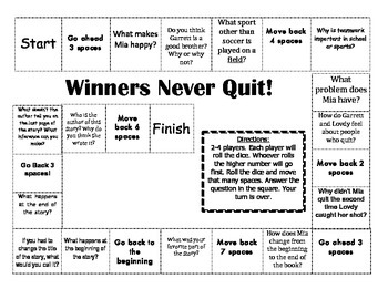 """""""Winners Never Quit!"""" Comprehension Game Board- Journeys story 1st grade"""