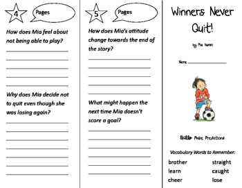 Winners Never Quit Trifold - Storytown 2nd Grade Unit 2 Week 1