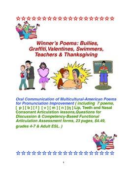 Winner's Poems:Bullies,Graffiti,Valentines,Swimmers,Teachers & Thanksgiving