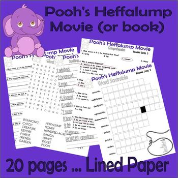 Winnie Pooh Heffalump Movie / Book Comprehension Activity Packet : LINED PAPER