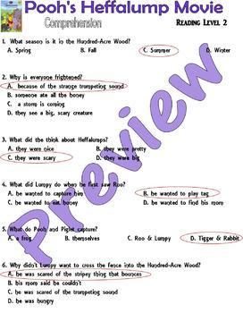 Winnie Pooh Heffalump Movie / Book : Comprehension Questions Multiple Choice