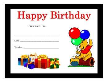 Winnie the Pooh Birthday Certificates (Includes 6 Certificates)