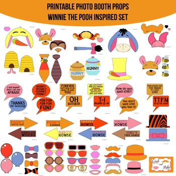 Winnie the Pooh Inspired Printable Photo Booth Prop Set