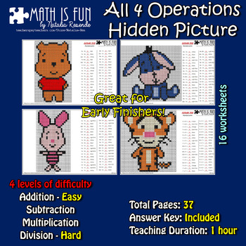 Winnie-the-Pooh - Mystery Picture - 4 operations - Four level difficulty