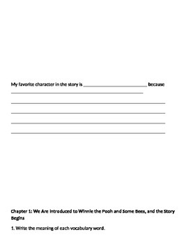 Winnie the Pooh Unit Student Book with cloze vocabulary