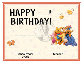 Winnie The Pooh And Friends Happy Birthday Birthday Certificate