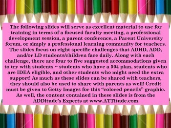 Winning Accommodations for ADHD/ADD and LD Students: Training Material