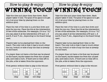 Addition and Subtraction Fact Connection Game: Winning Touch