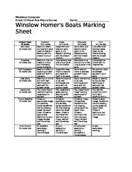 Winslow Homer Boats Marking Sheet