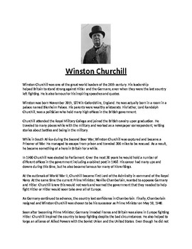 Winston Chruchill Biography Article and Assignment Worksheet