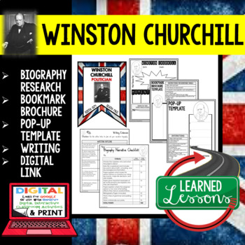 Winston Churchill Biography Research, Bookmark Brochure, Pop-Up, Writing, Google