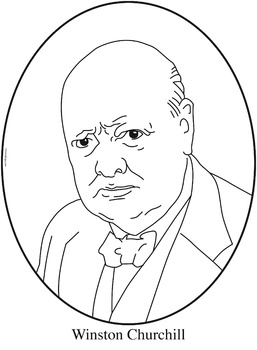 Winston Churchill Clip Art, Coloring Page, or Mini-Poster