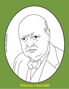 Winston Churchill Clip Art, Coloring Page, or Mini-Poster
