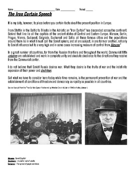 Winston Churchill Iron Curtain Speech, Cold War