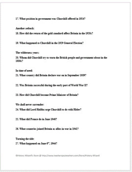 Winston Churchill Timeline Webquest