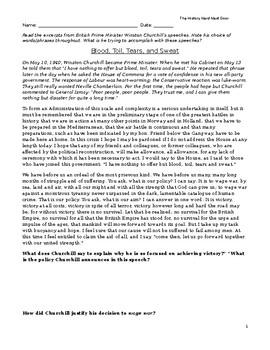 Winston Churchill- World War II (WWII)- speeches- Close Reading- Documents