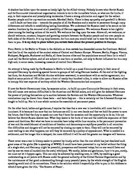 Winston Churchill's Cold War era Iron Curtain Speech Analysis