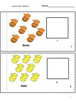 Winter  Mittens Count to 20  Count and Clip Task Cards Kindergarten Math Center