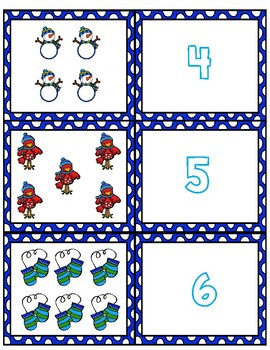 Winter 1-10 Cards ~ 1:1 Correspondence, Subitize, Numeral Recognition