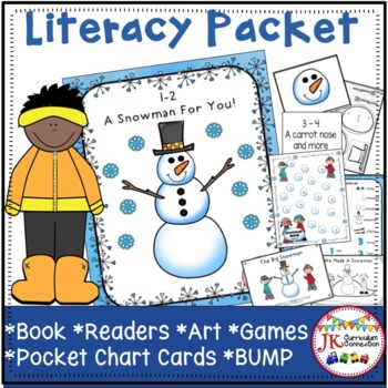 Winter!  1-2, A Snowman For You! Poem & Literacy Activities