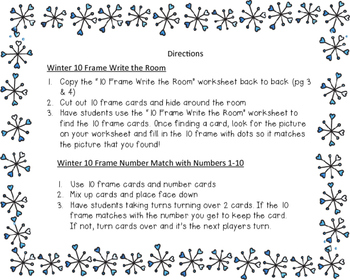 Winter 10 Frame Math Games