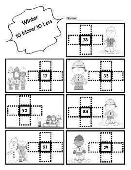 Winter 10 More, 10 Less Math Center