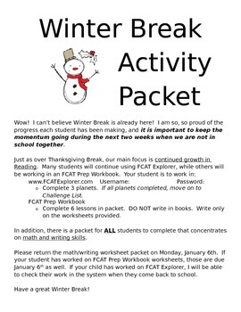 Cover Page for Winter/Christmas Break Activity Packet - Communication with Home