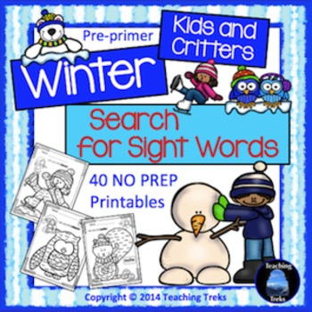 Sight Words Kindergarten Activities: Winter Theme