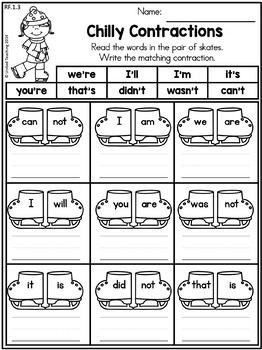 Winter 1st Grade Literacy Worksheets (Common Core Aligned)