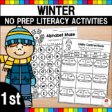 Winter 1st Grade No Prep Language Arts Worksheets