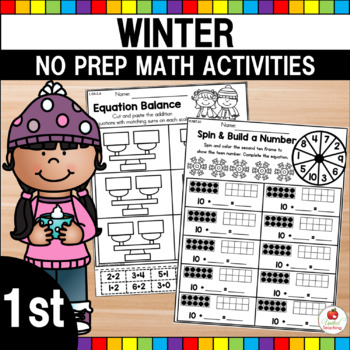 Winter 1st Grade No Prep Math Worksheets