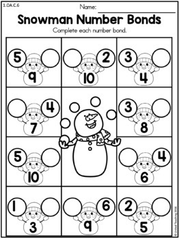Winter Math Worksheets (1st Grade)