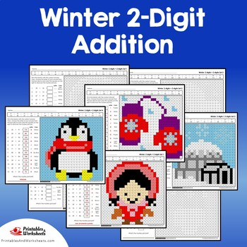 Winter 2 Digit Addition Coloring Pages
