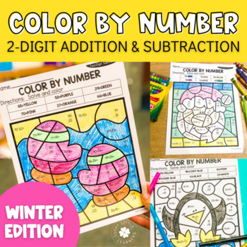 addition and subtraction coloring worksheets teaching resources   winter digit addition and subtraction color by number no prep  printables