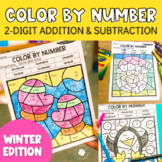 Winter 2-Digit Addition and Subtraction Color by Number No