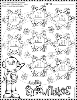 Winter 2-Digit Addition with Regrouping Color-by-Code Printables
