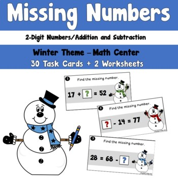 Winter 2 Digit Missing Numbers using Addition and Subtraction