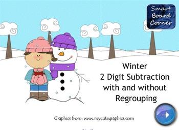 Winter 2 Digit Subtraction SMART Board Lesson