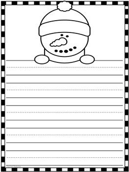 Snowman Winter Writing Paper