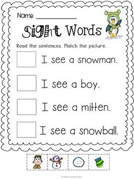 Winter Sight Words No Prep Printables