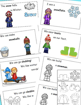 Winter Words Emergent Reader and Cut and Paste Reader, January Activities