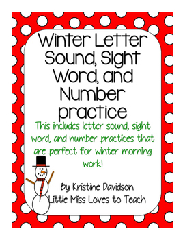 Winter Letter Sound, Sight Word, and Number Activities