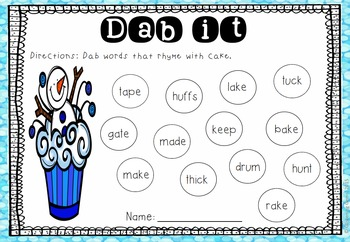 Dab the Rhyming Words - Winter Theme
