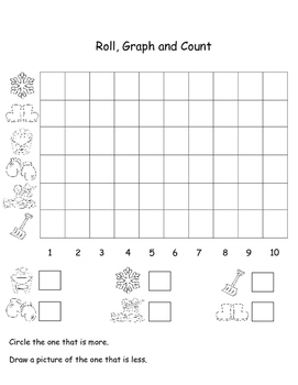 Winter Words,  Learning Cube and Graphing Activities, Winter Themed