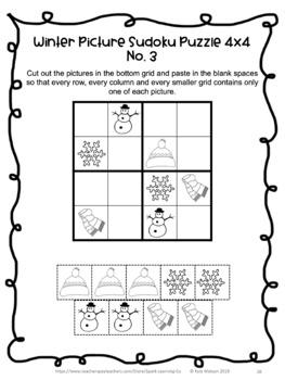 Winter Activities: Winter No Prep Sudoku Puzzles