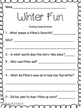 Winter 2nd Grade Literacy Packet NO PREP Common Core Aligned!