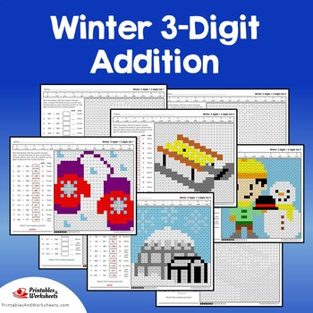 Winter Addition Centers, Mixed Adding With Regrouping 3 Digits Numbers