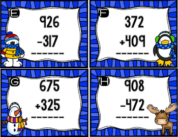 January 3 Digit Addition and Subtraction Scoot