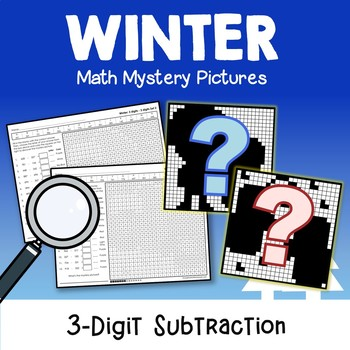 3-Digit Color By Number Subtraction Winter Mystery Picture Sheets