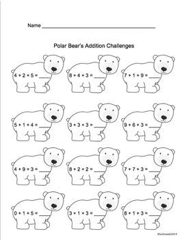 Winter Math Printables Morning Work  No Prep Grades 1-2 Common Core